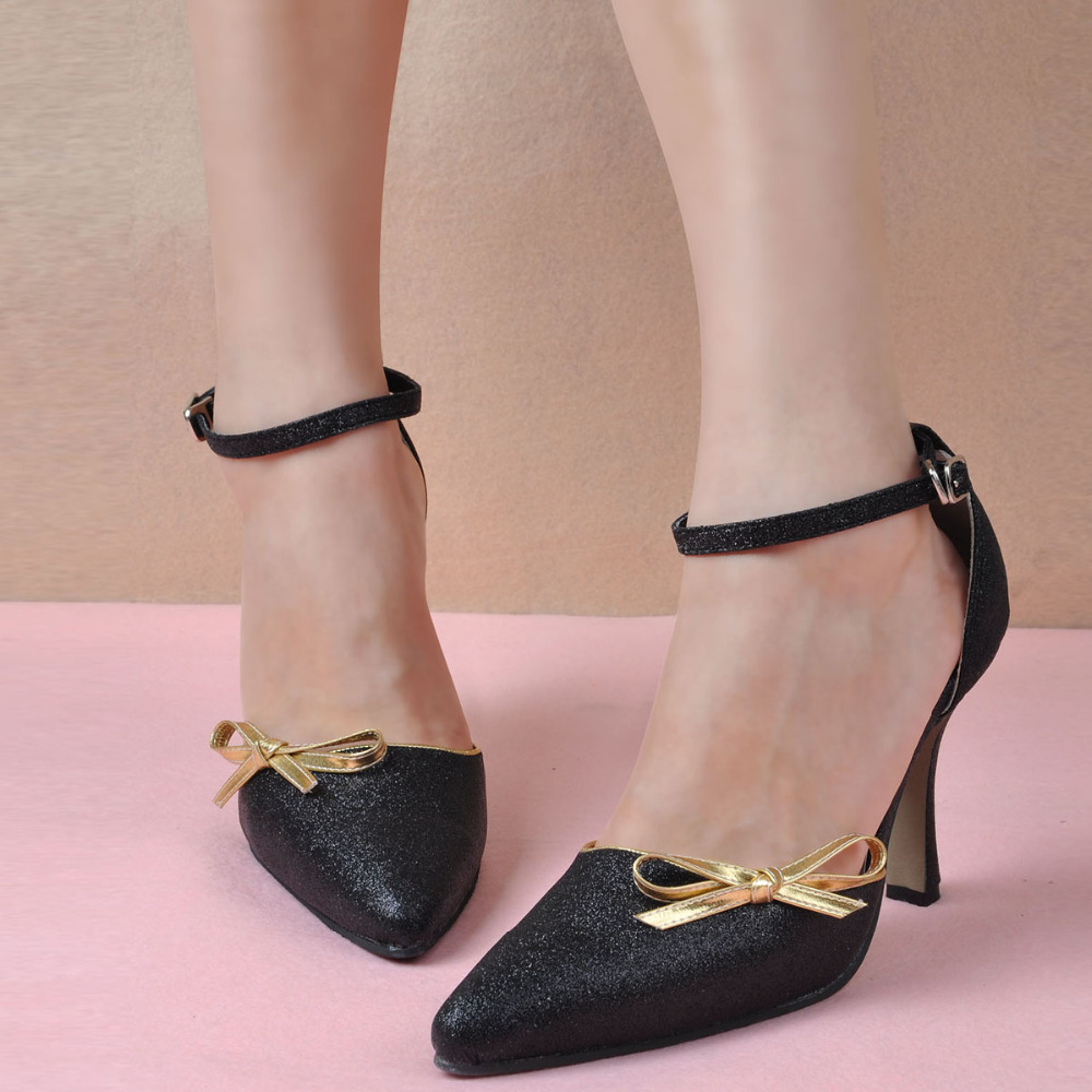 2015 Handmade Women Black Bridal Formal Evening Pumps High Heels Pointy Toe Ankle Strap Buckle Bow Glitter PU Party Shoes - Dragon River store