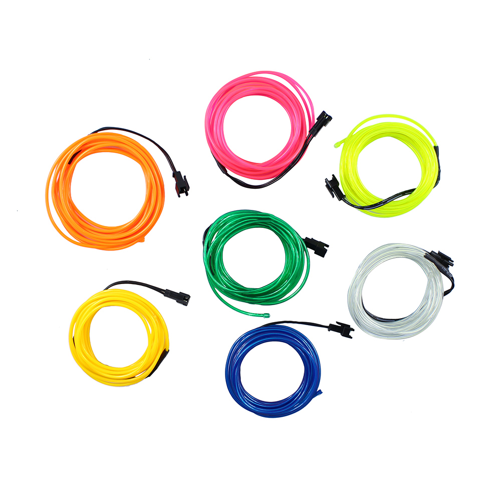 1pcs 3M Flexible EL Wire Tube Rope Battery Powered Flexible Neon Light Car Christmas Party Wedding Decoration With Controller(China (Mainland))