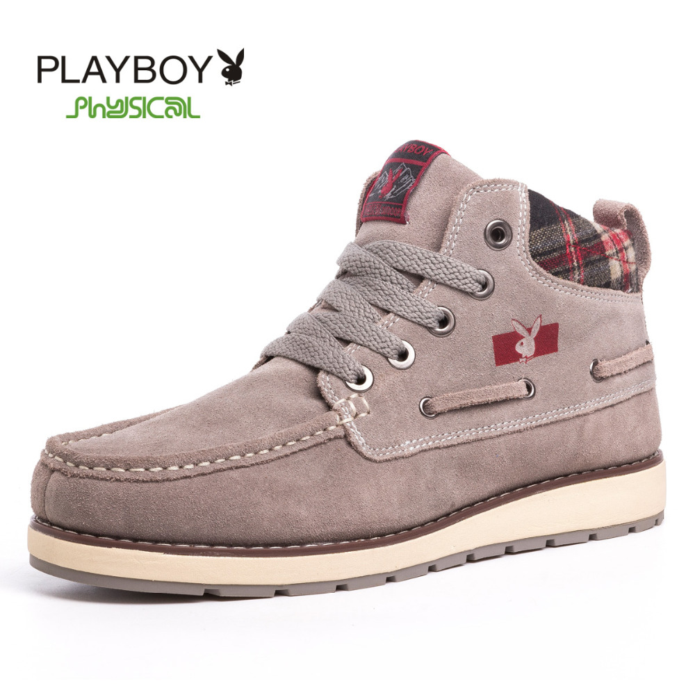 playboy Men's shoes winter thick cotton men higher tooling boots Genuine leather Snow Boots - Feng shang co., LTD store