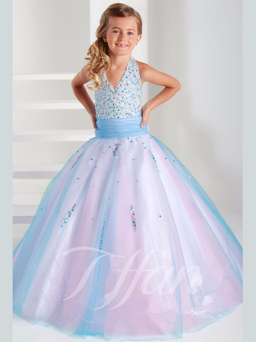 vestido longo Halter Ball Gown Pretty Children Graduation Gowns Beading Crystals Colorful Sky Blue&Pink Kids Frock Designs(China (Mainland))