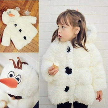 Drop Shipping New 2015 Winter Warn Coat,Baby Hooded Coat,Cartoon Olaf Jacket,Children Girls Fashion Outerwear,Kids Clothing,3-8Y - Pink Pig Factory store