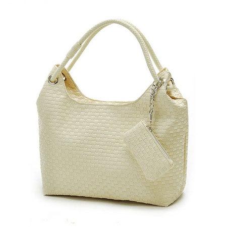 Women's Cheap Big Bag Knitted Fashion Shoulder Bags Tote High Quality PU Leather Handbag BB0606(China (Mainland))