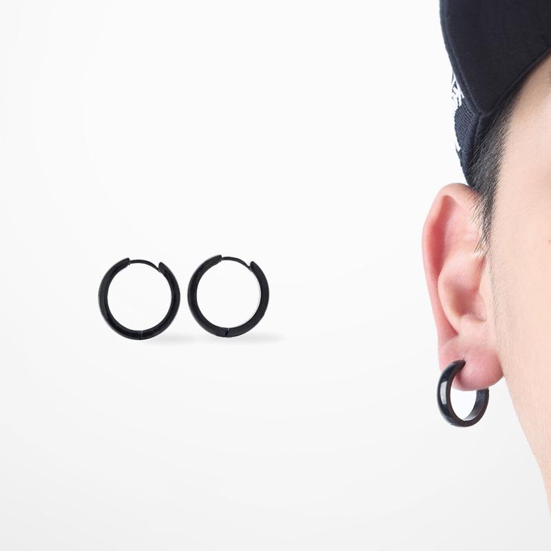 Street Hip Hop Earrings Stainless Steel Stud Earrings Men Fashion Brand Black Earring A Pair Side Length 18mm(China (Mainland))