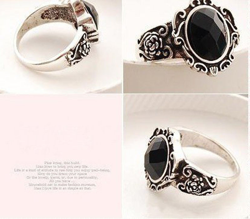2016 rings for women Ladies Fashion carved Vintage Imitate Black Onyx Ring Jewelry love bijouterie anel anillos Free shipping(China (Mainland))