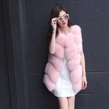2016 new Fox fur Medium-long Fur Vest female coat diamond vest womens winter jackets and coats natural fur women real fur coat(China (Mainland))