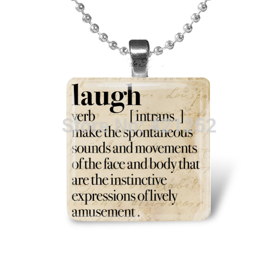 10pcs/lot Laugh Dictionary Happy Meaningful 1 Inch Glass Necklace(China (Mainland))