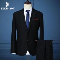 Boutique Men Business Suits / Men's Two Buttons Wedding Blazers Suits Male Two Pieces Pants Suit Jacket Sets in Men's Suits