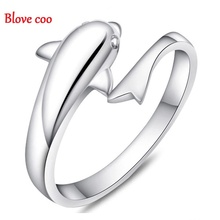Blove coo Rings Women 2016 New Fashion Silver Plated Finger Fine Jewelry Dolphin Lovers Adjustable Open Wholesale