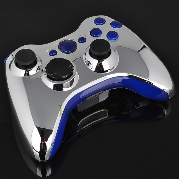 FOR xbox 360 controller chrome silver shell07