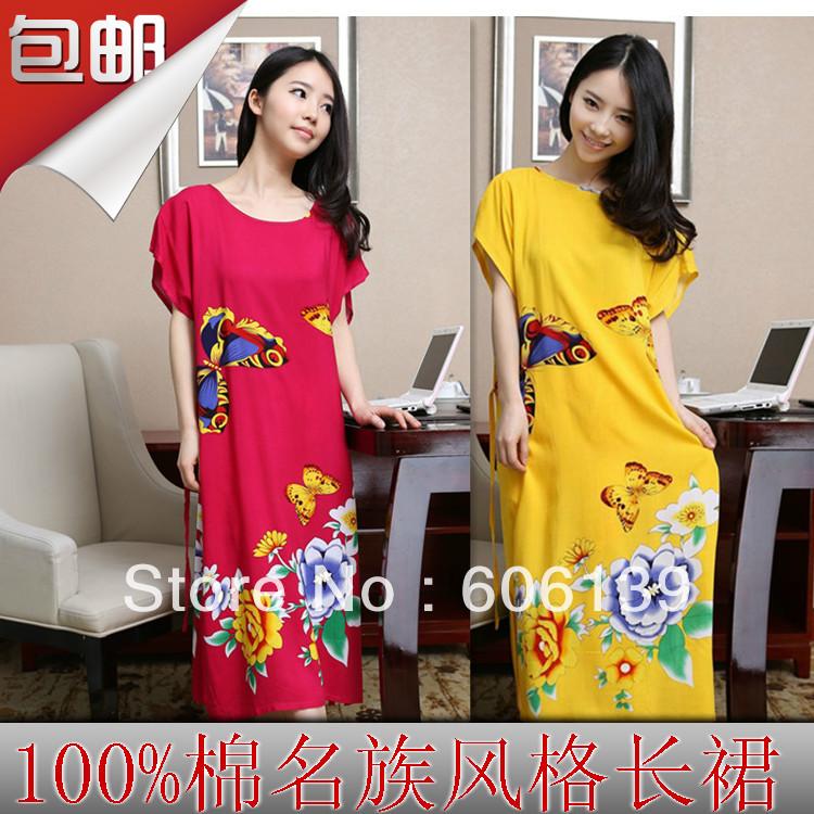 Sexy temptation long design nightgown plus size slim waist butterfly print 100% cotton nightgown Women sleepwear(China (Mainland))