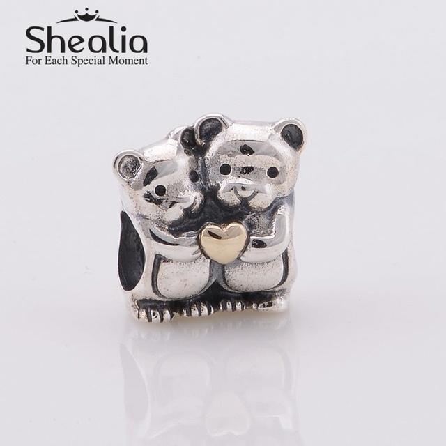 2014 новый серебро и золото dj-медведи hug бусины с золотым сердцем стерлингового серебра 925 ювелирных изделий подходит марка diy шарм браслеты