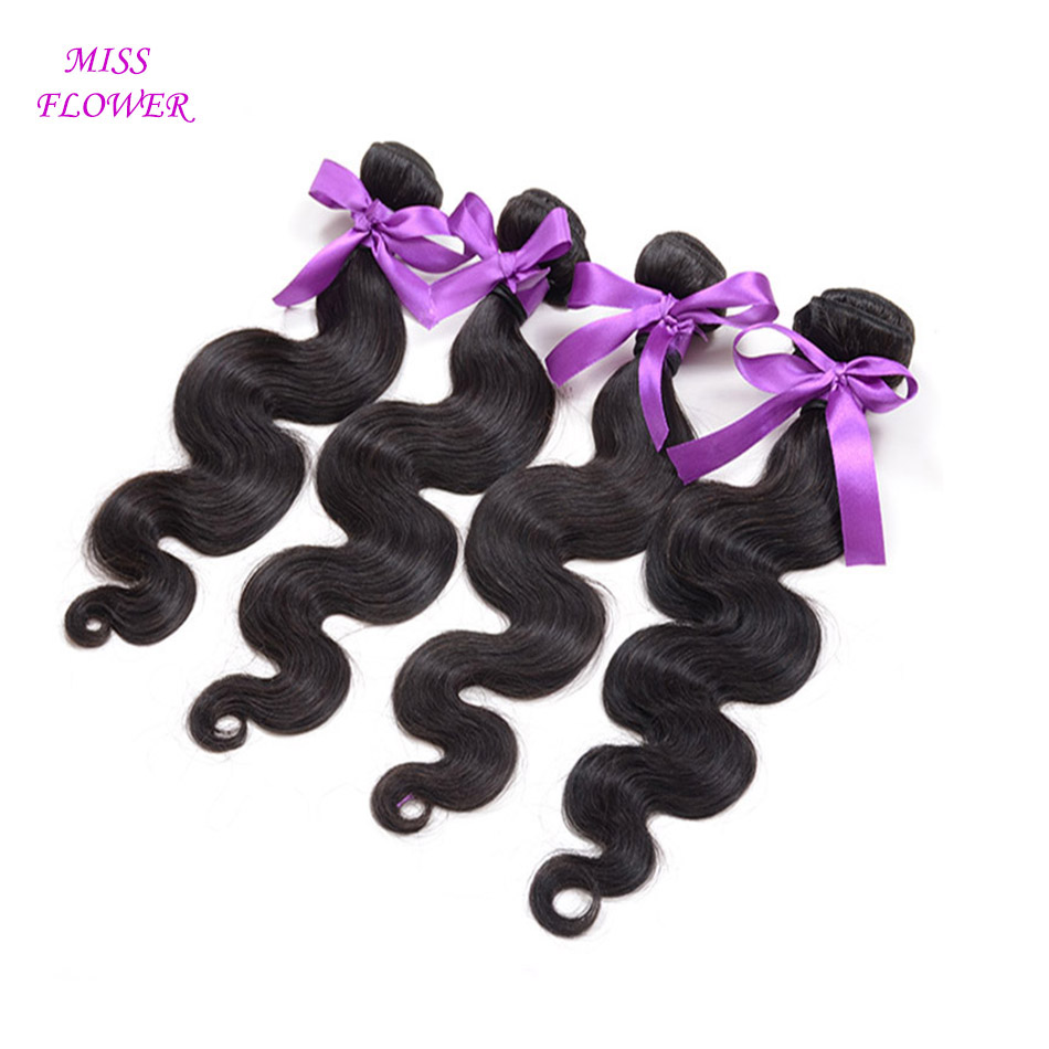 MISS FLOWER products malaysian body wave 4pcs malaysian virgin hair malaysian hair weave8-30inch human hair extensions no tangle