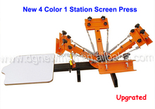 New Upgraded 4 color 1 station Silk Screen Printing Machine t-shirt Printer Press equipment carousel Free Shipping