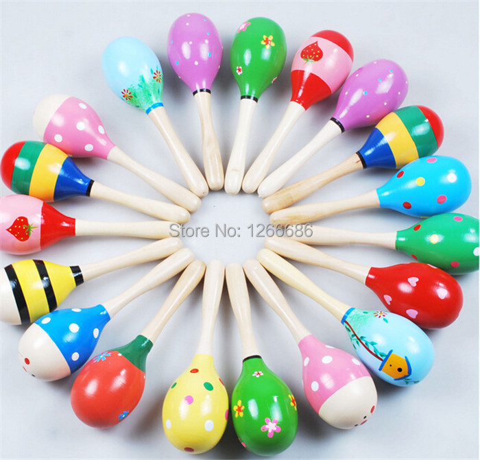 8 baby wooden rattle musical toys cartoon mini Sand hammer