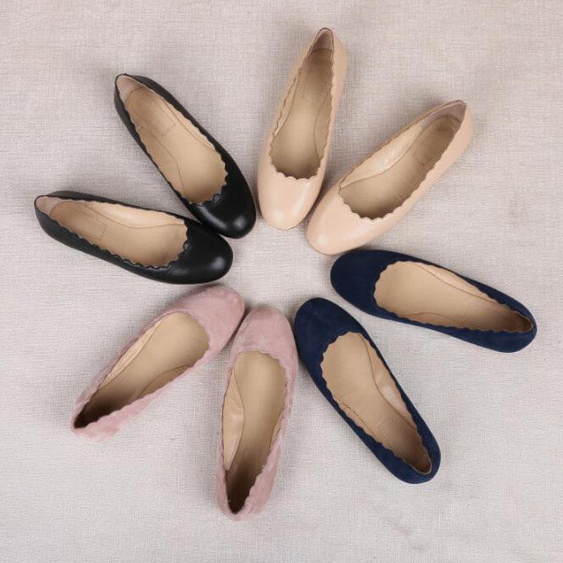 Venta caliente! nueva Moda Alpargatas de Cuero Genuino Mujeres de Los Planos de Zapatos