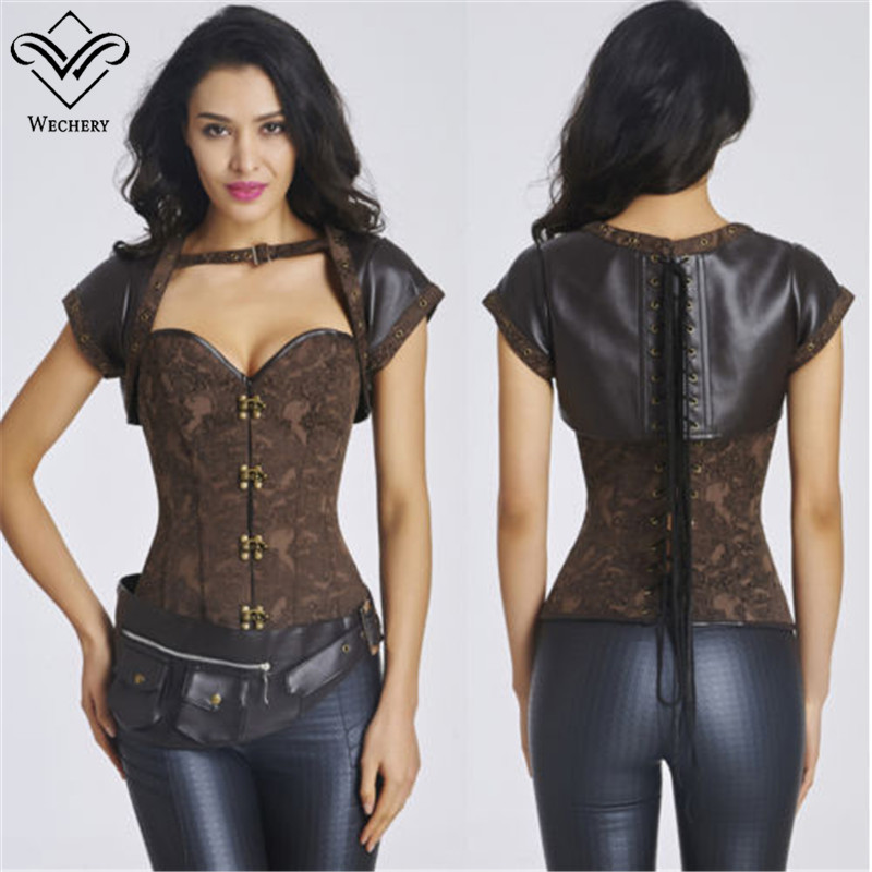 Gothic Corset Steampunk Steel Boned Overbust Buckle Corsets and Bustiers Cinta Modeladora Brown( Top+Corset+Belt 3PCS Set)(China (Mainland))