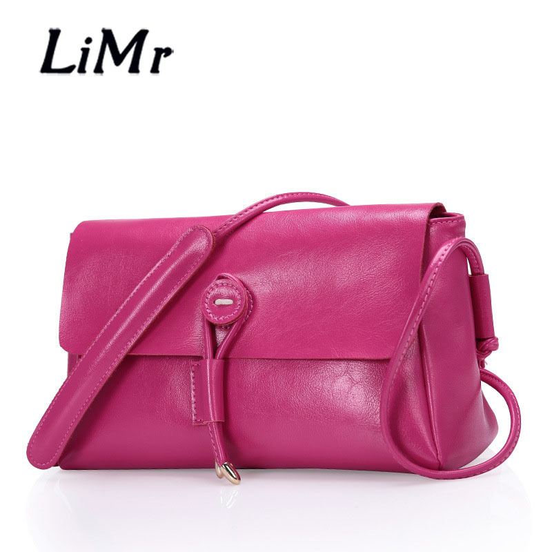 LiMr Crossbody Bags Casual Women Genuine Leather Shoulder Bags Candy Solid Cowhide Leather Lady Messenger Bags Evening Party Bag