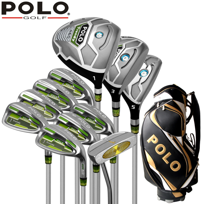 Genuine POLO New Golf Complete 11PCS Clubs Set and Standard Bag High Quality Putter Wood Iron Men Golf Stainless Ball Package(China (Mainland))