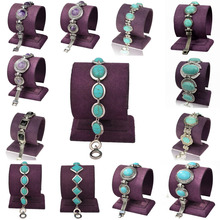 Fashion Blue Natural Turquoise Stone Bracelets Women 2015 Carved Vintage Tibetan Silver Link Chain Bangle Bracelet of Beads Gift(China (Mainland))