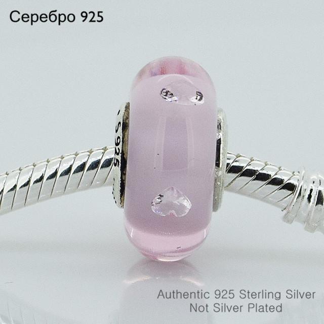 925-Sterling-Silver розовый муранского стекла бусины женщин DIY ювелирных изделий подходит европейский бренд подвески браслеты 5010