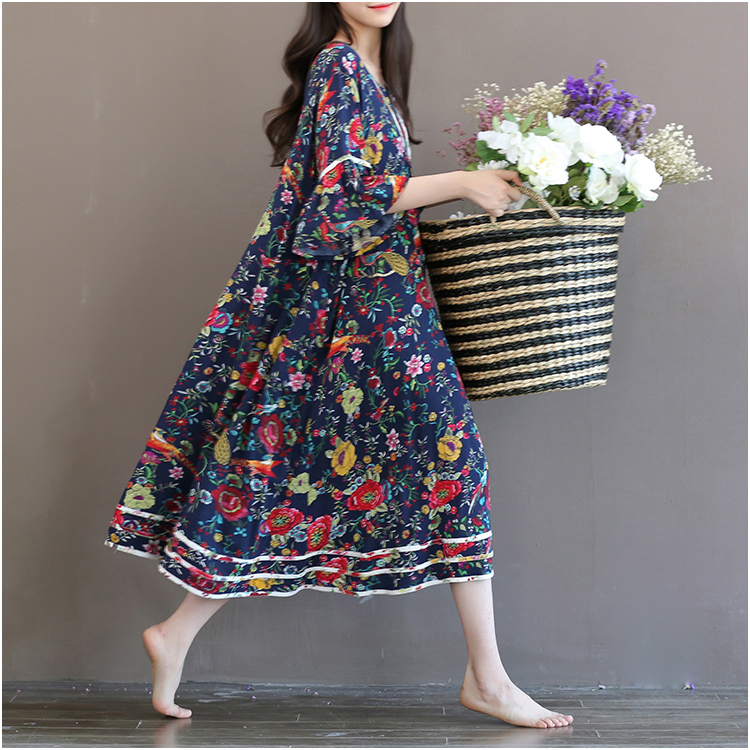 2016 summer plus size clothing trend mm national medium-long one-piece dress short-sleeve(China (Mainland))