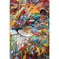 hand painted oil painting animals Abstract Lion dog Original palette knife painting oil impasto on canvas