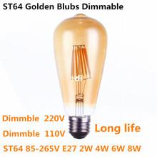 ST64 intage LED Edison Filament Light Bulb Golden led dimmable E27 110V 220V ST64 2W 4W 6W 8W blubs 360 degree energy light lamp(China (Mainland))