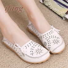 ifang 2016 Spring Summer women flats shoes women genuine leather shoes woman cutout loafers slip on ballet flats boat shoes(China (Mainland))