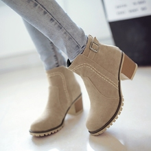 New Arrival Autumn and Winter Snow Boots Women Black Zipper Plus Size Martin Ankle Boots for Women Shoes Flock High Heel Boots(China (Mainland))