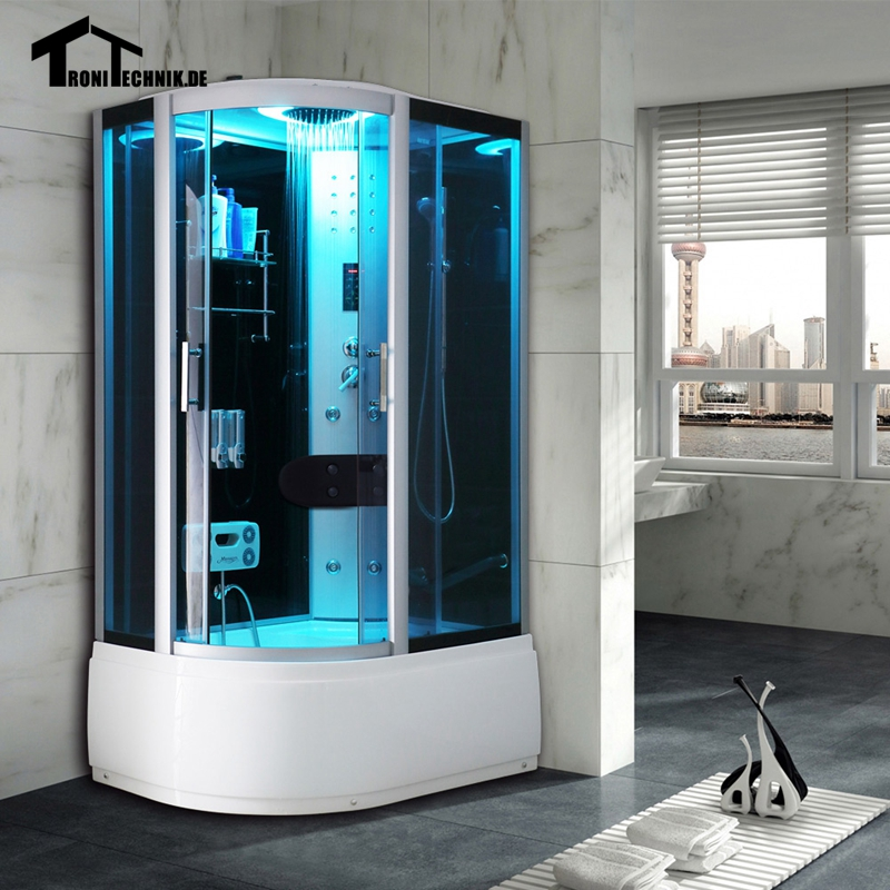 1200x800mm Steam shower cabin luxury glass Offset Steam Shower Enclosure Cabin Cubicle Bath Room Black Right hand Shower Room150(China (Mainland))