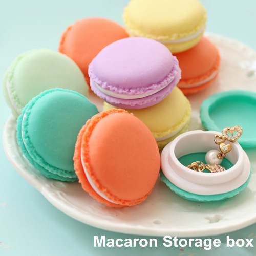 6pcs/Lot Mini Teddy Macaron Storage Box for Jewelry, Lovely Candy Color Small Thing Organizer Storage Boxes(China (Mainland))