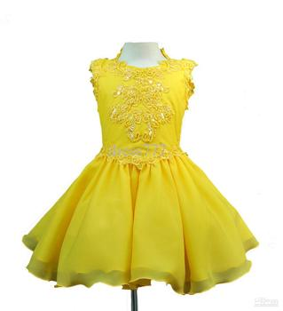 Hot Sale INFANT & GIRL NATIONAL PAGEANT FORMAL PARTY SHORT DRESS YELLOW