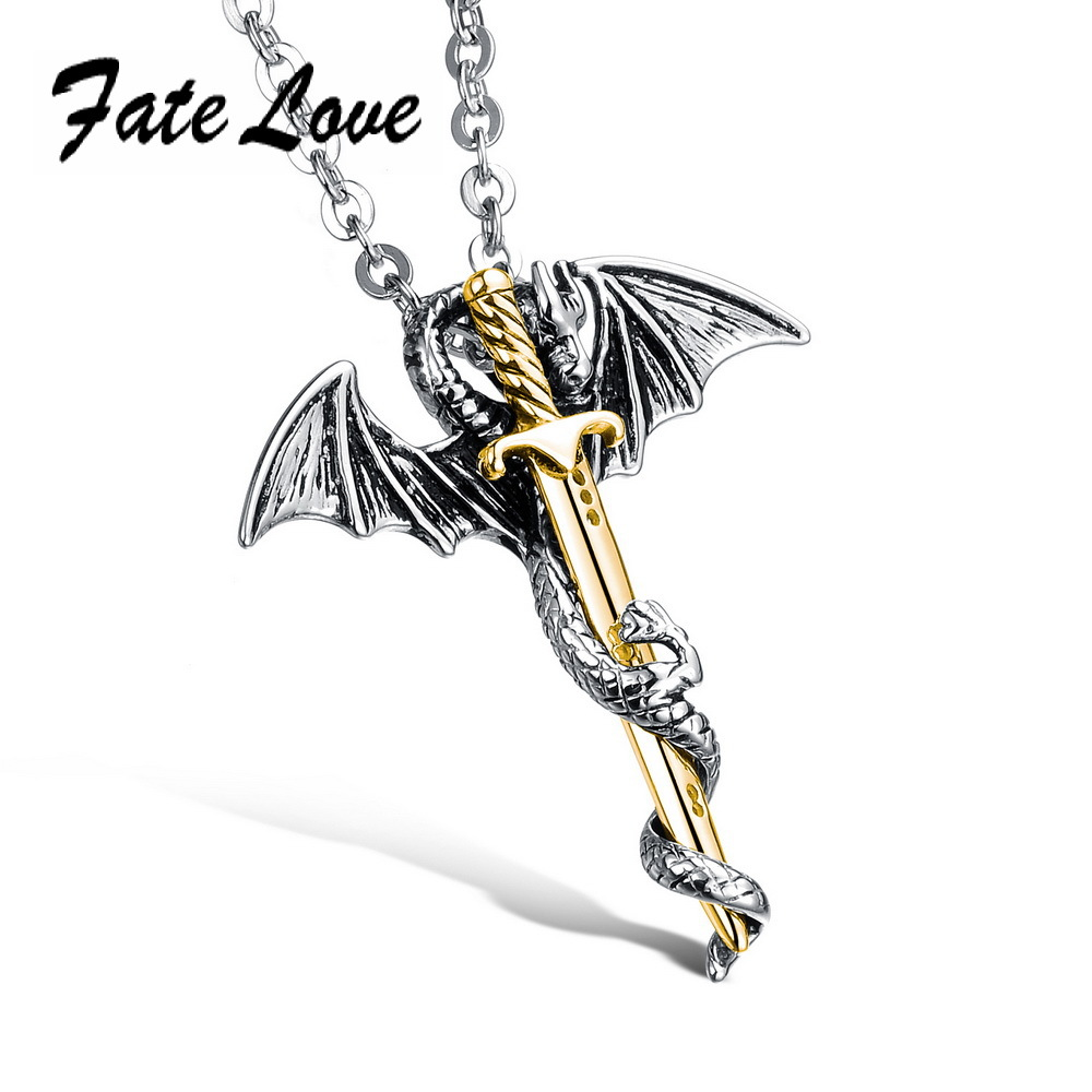 Fashion 2015 New Men's Flying Dragon Sword Titanium Stainless Steel Pendant Necklace Silver & Gold Plated FL937J(China (Mainland))