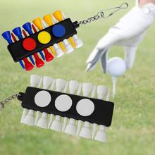 Outdoor Golf Tee Holder Carrier 12 Wooden Golf Ball Tees with 3 Ball Markers with Keychain(China (Mainland))