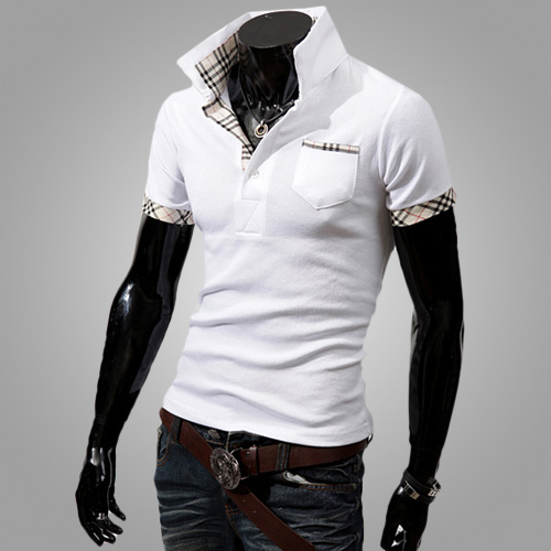 2015 Year New Arrival Men's Slim Fit Solid Colorway Polo Shirt, Plaid Attach England Style Fitness Sports Polo Shirt Men(China (Mainland))