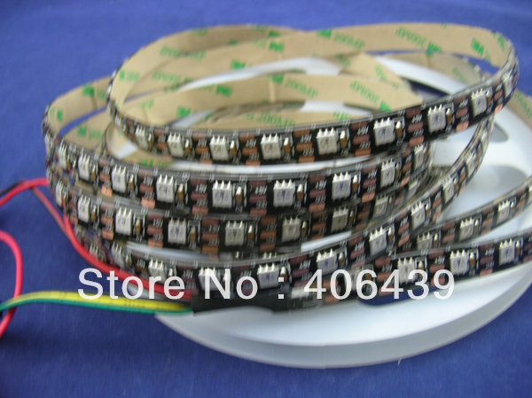 4M WS2811 LED digital strips 64leds/m,with 6WS2811 built-in 5050 smd rgb led chip,waterproof IP65,DC5V input,Black PCB - SCOTT Store store