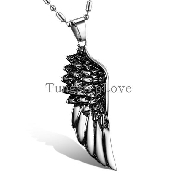 """Fashion Jewelry Stainless Steel Angel Wing Mens Pendant Necklace with 22"""" Bamboo Chain, Colour Black Silver (with Gift Bag)(China (Mainland))"""