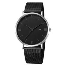 Relógio masculino relógio de pulso de quartzo de luxo ultrafino relógio de pulso masculino lazer banda de aço inoxidável relógio de pulso masculino relógios relogio masculino(China)