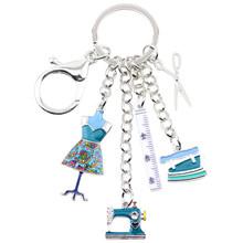 Bonsny de aleación de esmalte de la máquina de coser herramientas tijeras regla clave cadenas llaveros colgante Vintage coche bolso regalo de encantos de la nave de la gota(China)