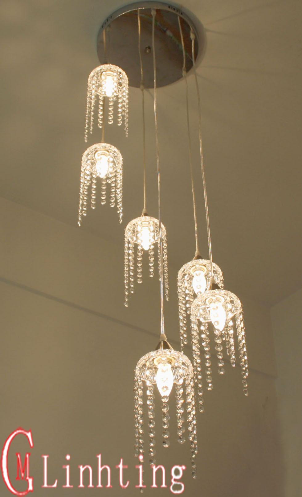 Led iron crystal lamp pendant light lamp wood stair lighting lamps lamp cover f365(China (Mainland))