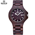 SKONE Antique Wood Watch with Date Dark Coffee Sandalwood Watches Men Luxury Brand Analog Quartz Wristwatch