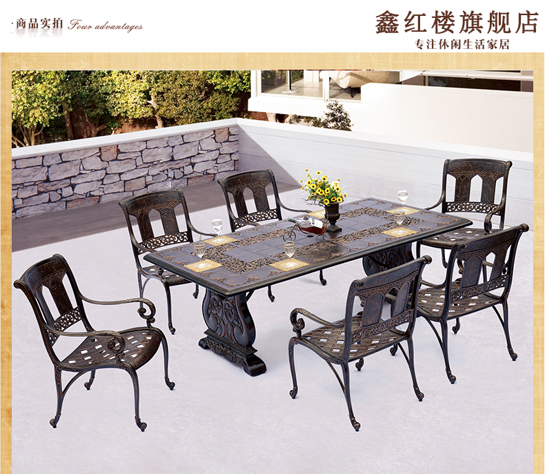 Outdoor Dining Furniture 7pieces Oblong Shape Cast