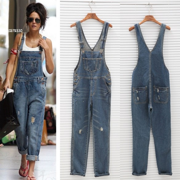 Women Denim Overalls Vintage Distressed Ripped Bib Jeans Spring&Autumn Loose Full Length Free Shipping(China (Mainland))