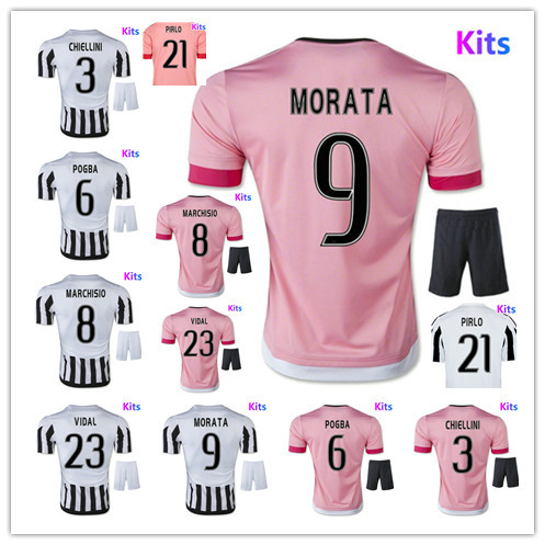 NEW 15 16 Embroidery Home Customize DIY Morata Pogba Pirlo Football Kits away Uniform Men Shirt Sports Outfit Soccer Jersey Set(China (Mainland))