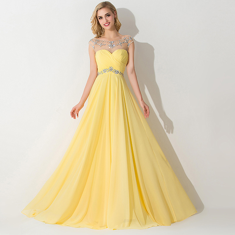 In Stock Royal Blue Yellow Red 2015 Free Shipping Cap Sleeve Crystal Chiffon Evening Party Dress Floor-Length Long Prom Dresses(China (Mainland))