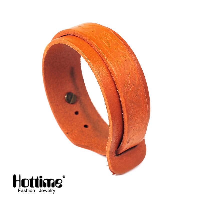 Hottime PG040 New Fashion Jewelry 4 Colors Chose Genuine Leather Bracelets & Bangles PU Leather Free Shipping Via China Post(China (Mainland))