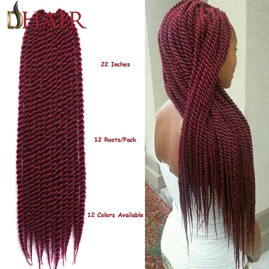 New Brand And High Quality 22Inch Senegal Twist Crochet Hair Braiding Kanekalon Dreadlock Extensions 1-10 Packs Crochet Dreads(China (Mainland))