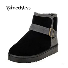 Botas de Nieve de las mujeres 2016 Otoño Invierno de La Manera Caliente Para Mujer Botines de Tobillo Patchwork Botas de Hebilla Plana Botas de Mujer de la Muchacha zapatos(China (Mainland))