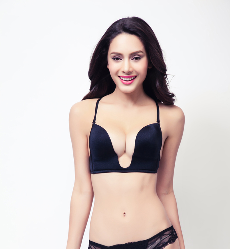 New Fashion Deep Plunge U Women Bras Sexy Seamless Adjustable Convertible Straps Sutian Orange/Khaki/Black Push Up Bra(China (Mainland))