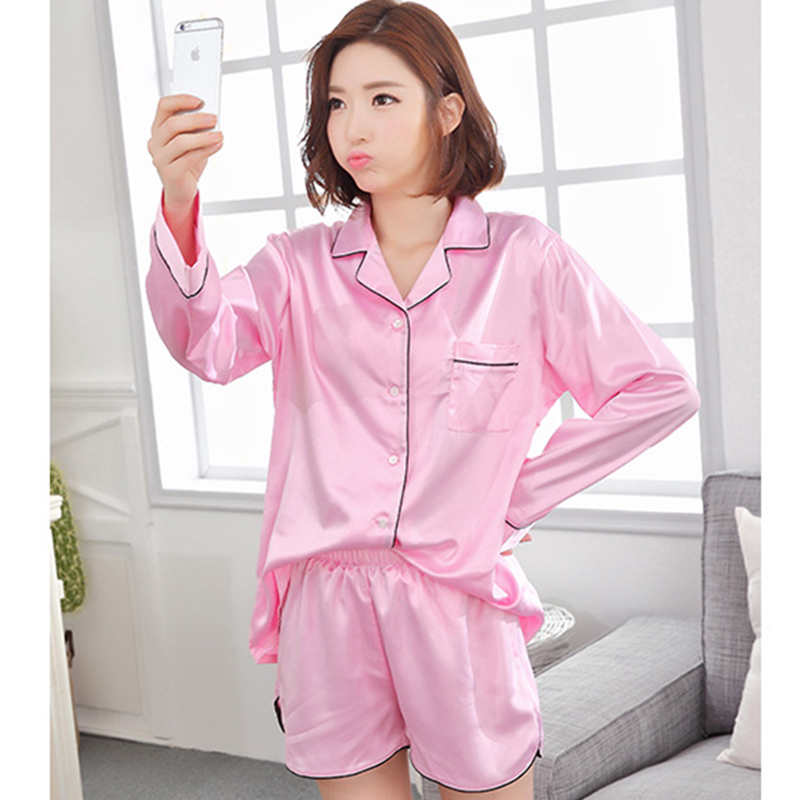 Women imitated silk turn-down collar long sleeves nightgown,lady girls white pink blue classic buttons pajamas sets KOL K-8501(China (Mainland))